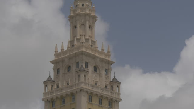 close shot of top of freedom tower, downtown, miami, florida, united states of america, north america - fensterfront stock-videos und b-roll-filmmaterial