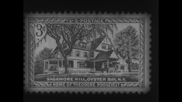 close shot of us postage stamp with picture of sagamore hill on it / three shots of exterior of sagamore hill / note: exact year not known - briefmarke stock-videos und b-roll-filmmaterial