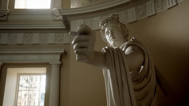 close shots of apollo belvedere statue - male likeness stock videos & royalty-free footage