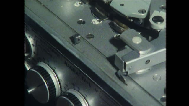 close tilt up an old tape recorder; 1980 - machine part stock videos & royalty-free footage