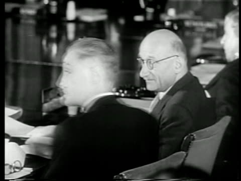 vidéos et rushes de view close up 2 members of north atlantic council talking at nato meeting / documentary - 1949