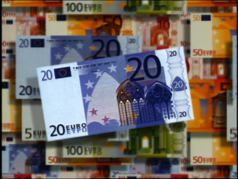 cgi close up 20 euro bill with various euro demoninations in background - large group of objects stock videos & royalty-free footage