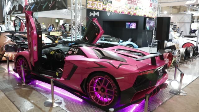 Close up a customized Lamborghini stands on display at the Tokyo Auto Salon in Chiba Japan on Friday Jan 12 2018