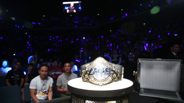 Close up a One Championship belt sits near the cage during The One Kings Conquerors event at the Venetian Macao in Macau on Saturday Aug 5 2017