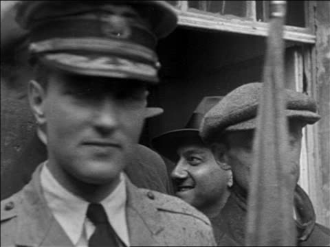 b/w 1925 close up admiral richard e byrd in uniform after transatlantic flight / france / documentary - 1925 stock videos & royalty-free footage