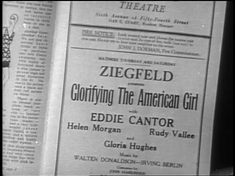 b/w 1927 close up advertisement for ziegfeld production of glorifying the american girl / newsreel - 1927 stock videos & royalty-free footage
