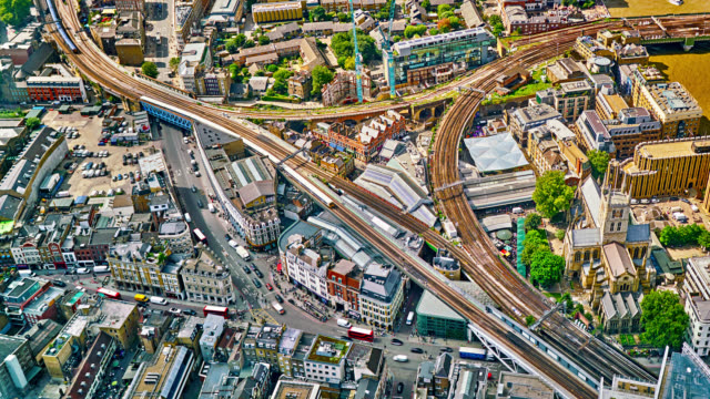 close up aerial view of london street. rail road. - uk stock videos & royalty-free footage