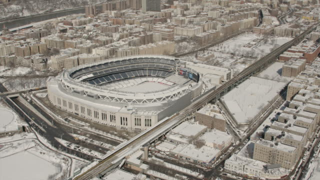 Close up Aerial View Of Yankee Stadium In The Bronx New York City On A Sunny Winter Day.