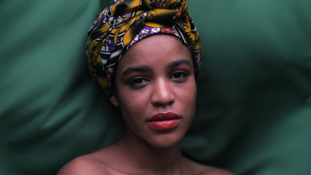 close up, african woman with headscarf - lipstick stock videos & royalty-free footage