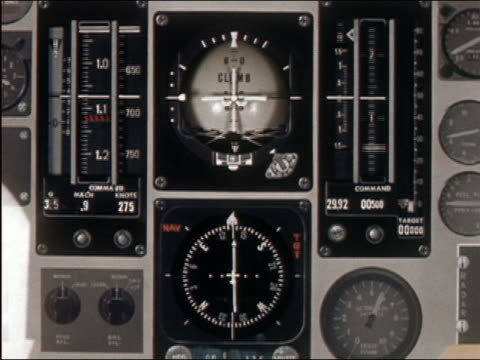 Close up aircraft instrument panel with several spinning and moving meters + gauges