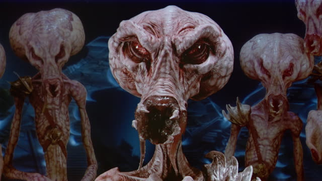 close up alien with sharp fangs talking or hissing at cam - alien stock videos & royalty-free footage