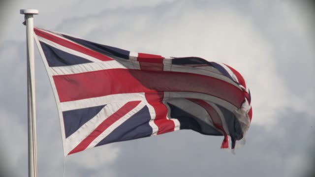 Close up and real time footage of the Union Jack Flag