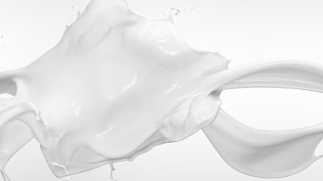close up and slow motion of 2 liquid milk streams throwing, colliding and splashing in air with splashes against alight grey background - liquid stock videos & royalty-free footage