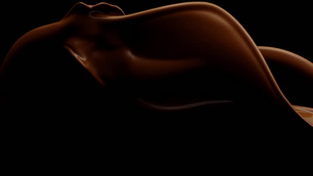 close up and slow motion of liquid chocolate flowing and throwing in moody air with splash against a black background - beige stock videos & royalty-free footage