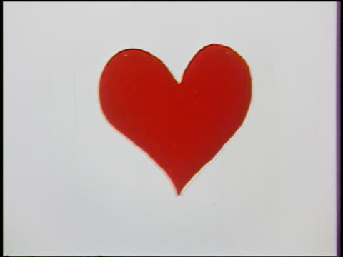 1954 close up animated red heart with white background - valentine's day stock videos & royalty-free footage
