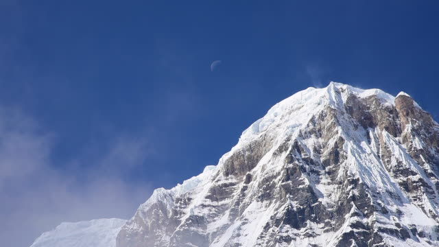 Close up Annapurna I mountain with Moon