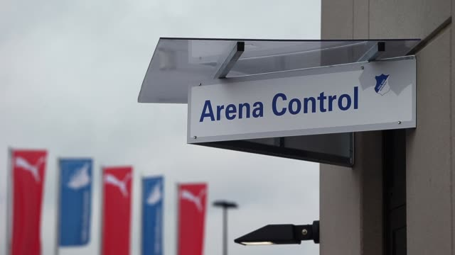close up, arena control sign. general views of the wirsol rhein neckar arena prior to the bundesliga match between 1899 hoffenheim and werder bremen.... - 1899 stock videos & royalty-free footage