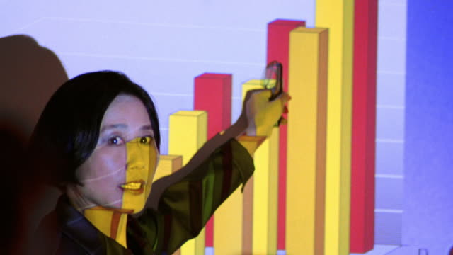 close up Asian businesswoman giving presentation pointing to projection with graph in business meeting