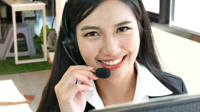 Close up asian Customer Service Representative
