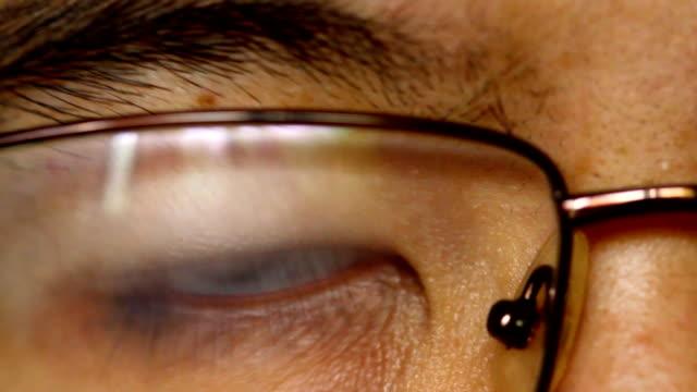 close up asian man eye