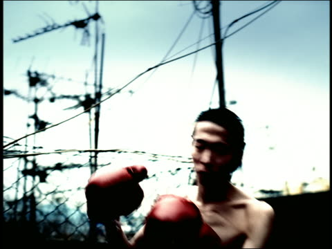 high contrast close up asian man with boxing gloves throwing punches in air outdoors / hong kong - high contrast stock videos & royalty-free footage