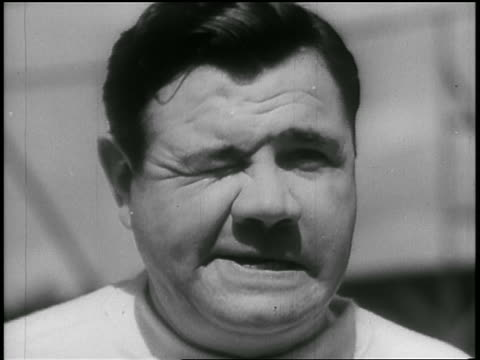 b/w 1935 close up babe ruth winking at camera - one mid adult man only stock videos & royalty-free footage