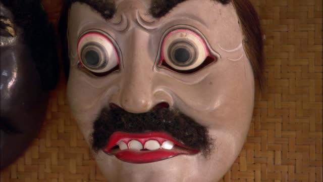 Close up Balinese mask with moustache and bulging eyes / Ubud, Bali, Indonesia