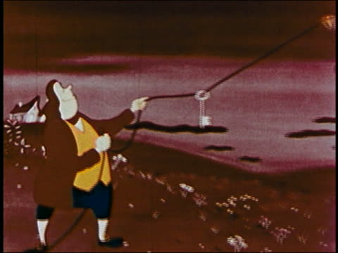 1953 animation close up ben franklin flying kite w/key dangling on thread / lightening flashes / audio - benjamin franklin stock videos & royalty-free footage