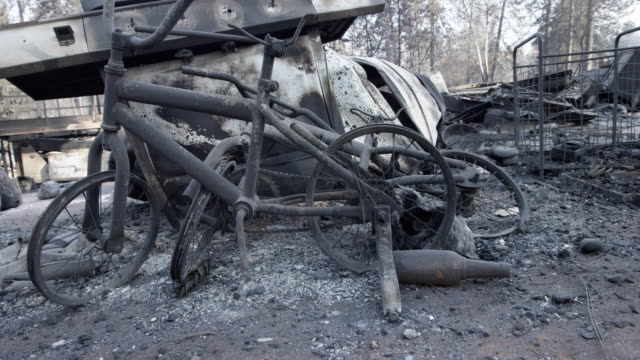 close up, bike burned in california wildfire - abandoned stock videos & royalty-free footage