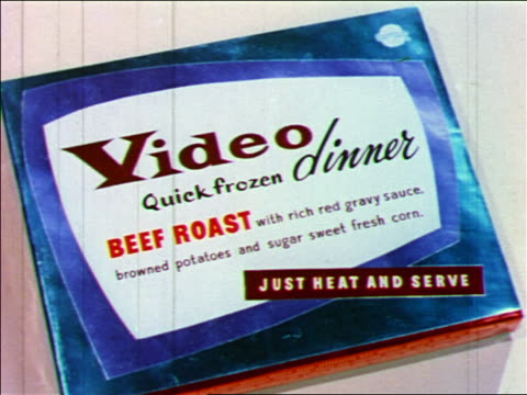 "1955 close up box of ""Video"" Beef Roast TV dinner / industrial"