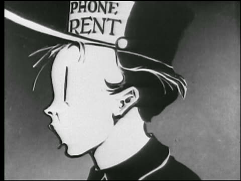 """B/W 1925 ANIMATION close up boy in """"Phone Rent"""" hat turns head with mouth open in surprise / newsreel"""