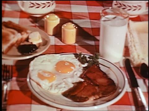 1948 close up breakfast on plates on table: fried eggs, steak, toast + glass of milk / industrial