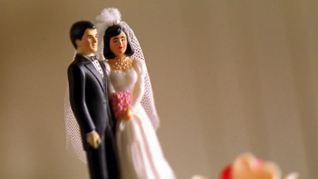 Close up bride and groom cake decoration
