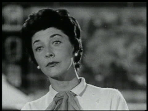 b/w 1959 close up brunette woman looking at something off screen - 1959 stock videos & royalty-free footage