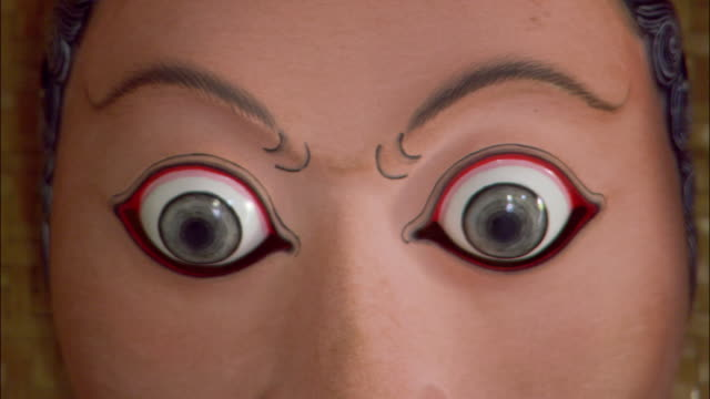 Close up bulging eyes of Balinese mask / Ubud, Bali, Indonesia