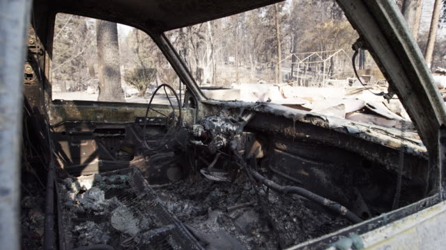 close up, burnt car in california - abandoned stock videos & royalty-free footage
