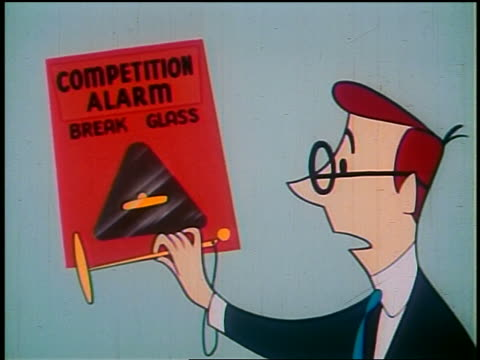 "1948 ANIMATED close up businessman breaking glass + sounding ""competition alarm"""