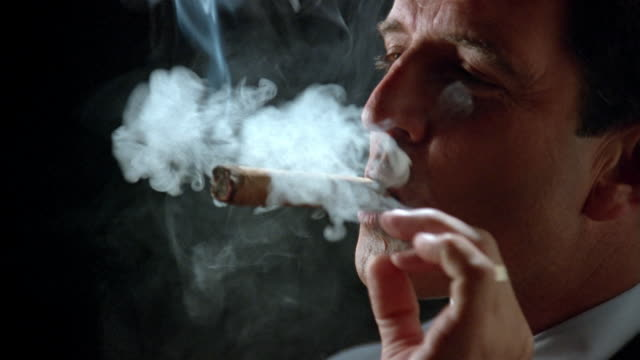 close up businessman lighting cigar with money/ zoom in puffing on cigar, looking at camera and smiling/ zoom out - tobacco product stock videos & royalty-free footage