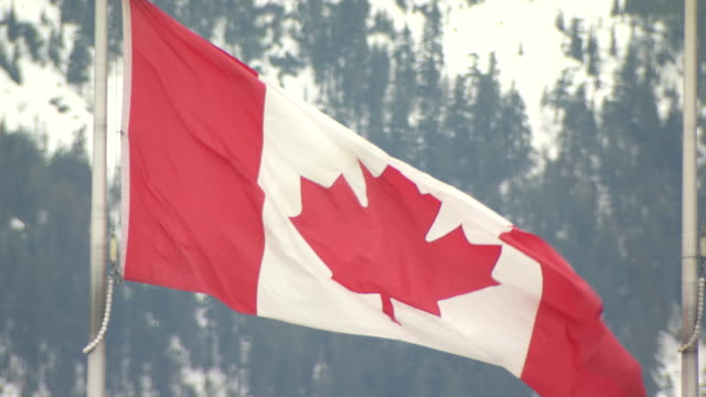 close up canadian flag flying with snow covered mountains in the background - canadian flag stock videos & royalty-free footage