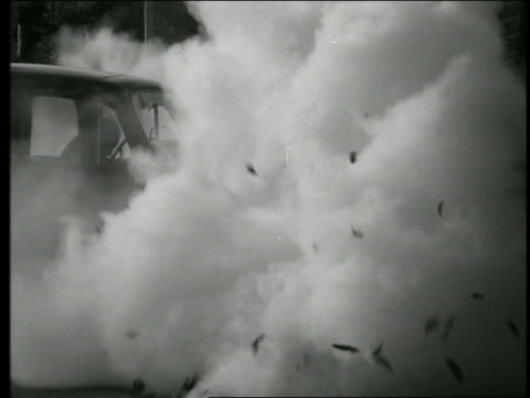 b/w close up car exploding - 1960 stock-videos und b-roll-filmmaterial