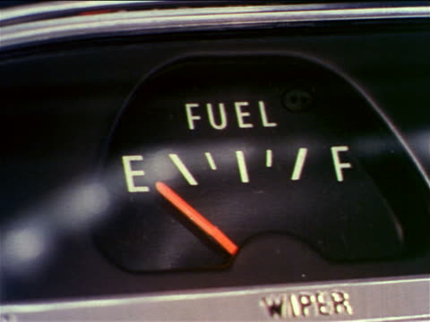 1962 close up car gas gauge on empty / industrial - refuelling stock videos & royalty-free footage