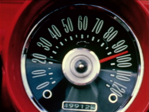 1968 close up car speedometer (95mph) / educational