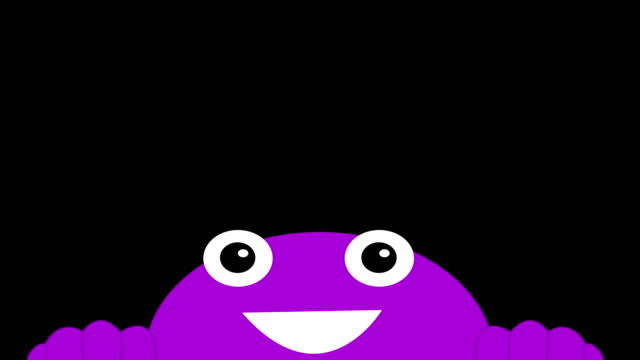 close up cartoon happy face looking up and front animation - blinking stock videos & royalty-free footage