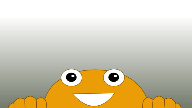 Close up cartoon happy face looking up and front animation