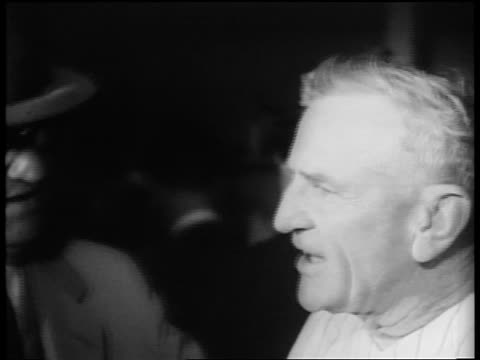 b/w 1953 close up casey stengel talking after world series win / nyc / newsreel - 1953 stock videos and b-roll footage