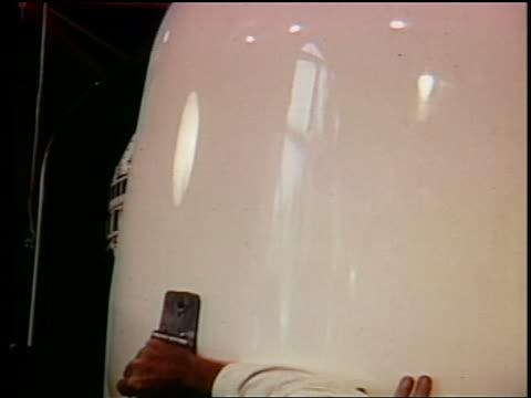 1962 close up casing being closed over telstar / documentary - telstar stock-videos und b-roll-filmmaterial