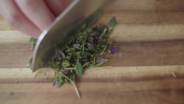 close up chopping freshness thyme