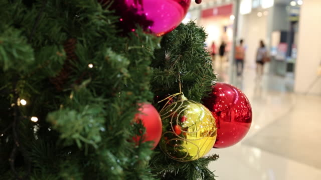close up christmas tree which decorated - department store stock videos and b-roll footage