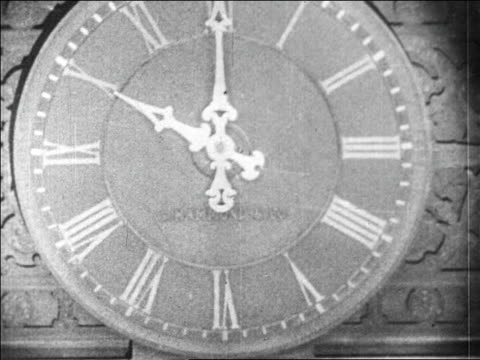 b/w 1929 close up clock at new york stock exchange / wall street nyc / newsreel - 1920 1929 stock videos & royalty-free footage
