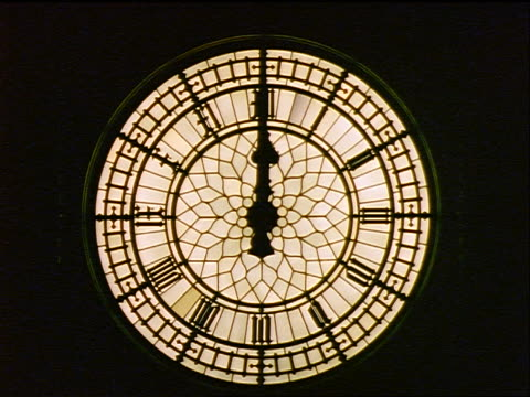 close up clock on big ben at night / london - sheppard132 stock videos & royalty-free footage